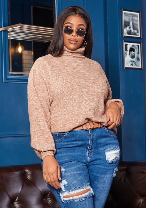 Asoph Plus Size Must Have Turtle Neck Sweater