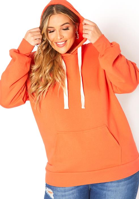 Asoph Plus Size Kangaroo Pocket Hooded Sweater