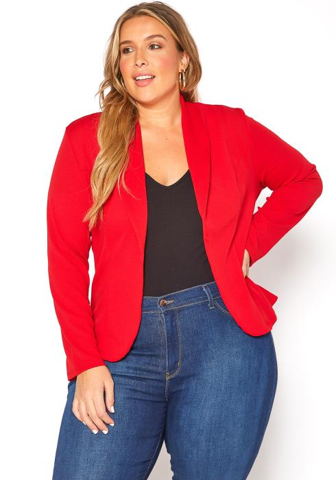 Asoph Plus Size Work Attire Open Front Blazer