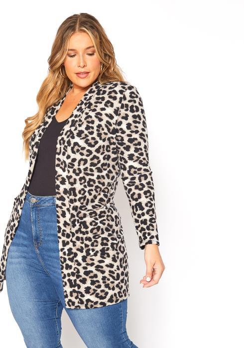 Asoph Plus Size Snow Leopard Open Front Longline Cardigan