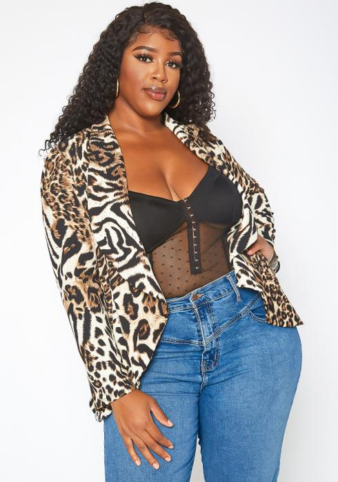 Asoph Plus Size Leopard Print Waterfall Drape Ascent Blazer