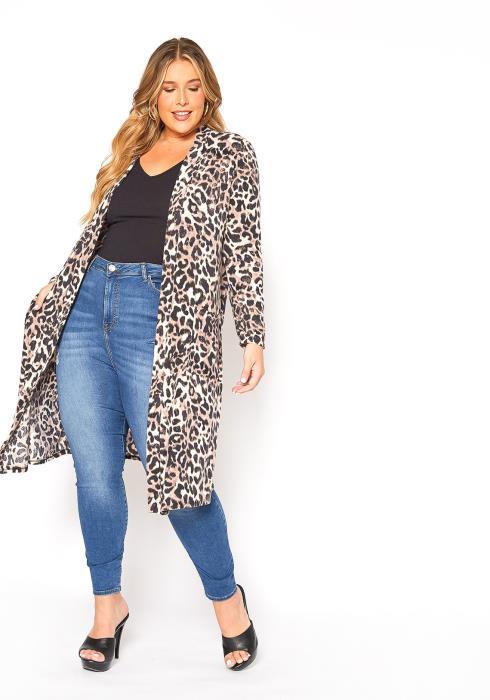 Asoph Plus Size Wild Leopard Open Front Longline Cardigan