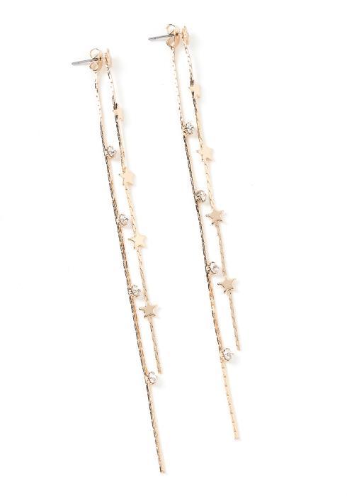 Celestial Gold Star Drop Earrings