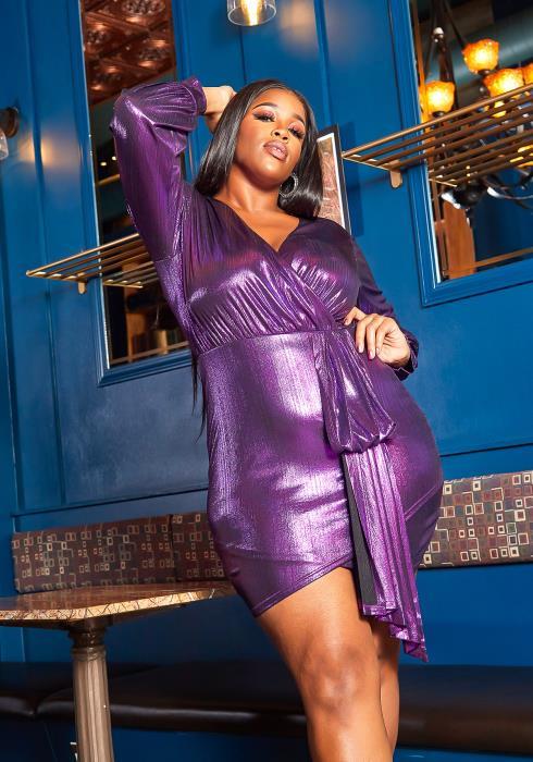 Asoph Plus Size Violet Shining Drape Front Party Mini Dress