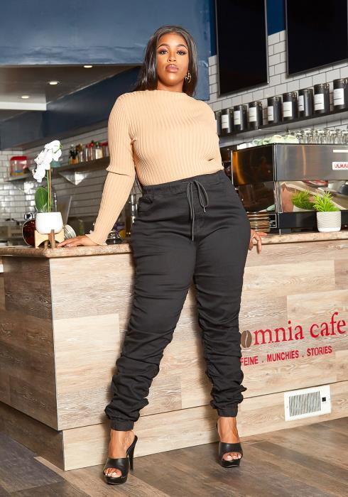 Asoph Plus Size IG Famous Stacked Drawstring Pants