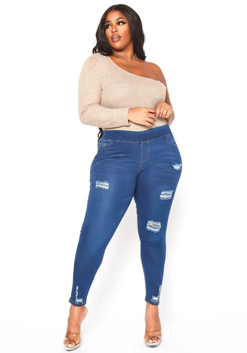 Asoph Plus Size Minimal Distressed Blue Wash Jeggings