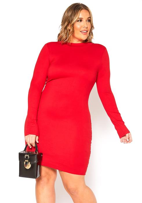 Asoph Plus Size Basic Mock Neck Long Sleeve Mini Dress