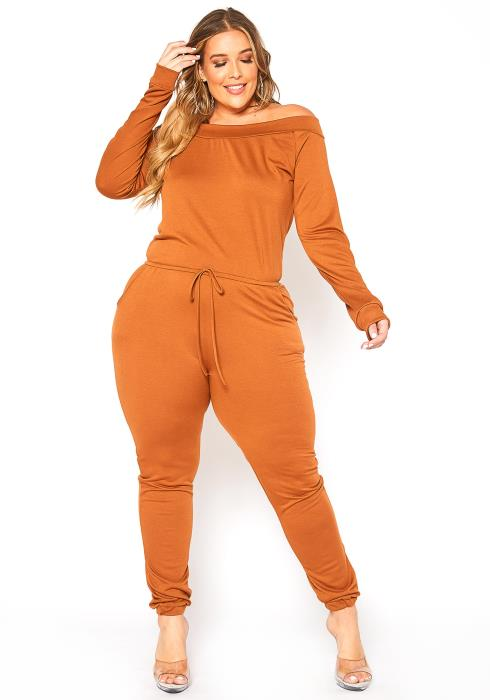 Asoph Plus Size In My Zone Off Shoulder Lounge Jumpsuit