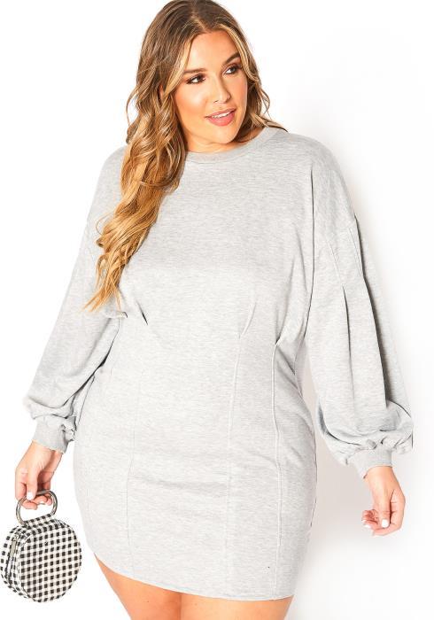 Asoph Plus Size Upleveled Crew Neck Sweater Mini Dress