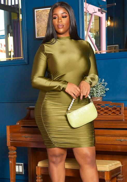 Asoph Plus Size Private Party Ruched Satin Bodycon Dress