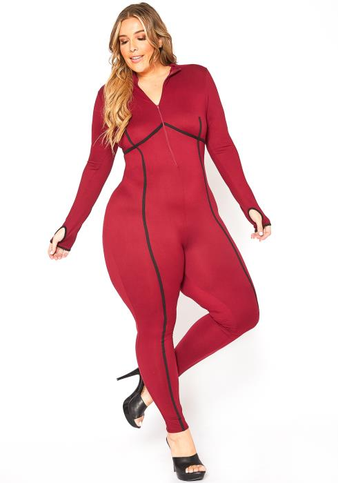 Asoph Plus Size Marker Lined Zip Front Bodycon Jumpsuit