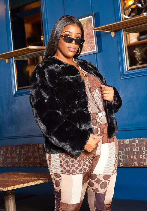 Asoph Plus Size Lavish Faux Fur Winter Coat