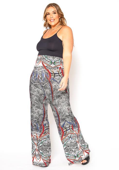 Asoph Plus Size Bohemian Print High Waist Flare Pants