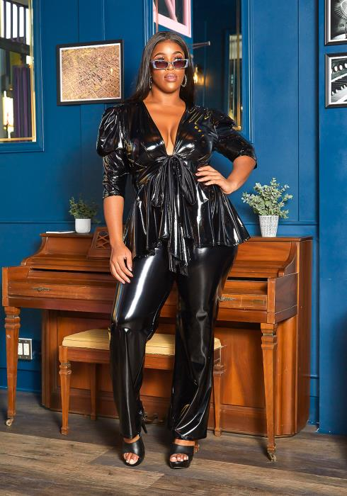 Asoph Plus Size Fashion Mode Patent Leather Two Piece Set