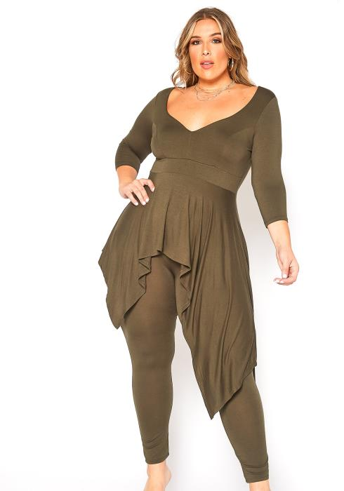 Asoph Plus Size Asymmetric Peplum Top & Leggings Set
