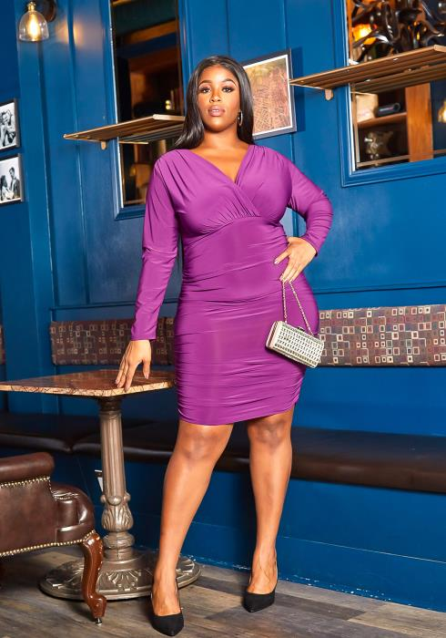Asoph Plus Size Sincere Long Sleeve Ruched Bodycon Mini Dress