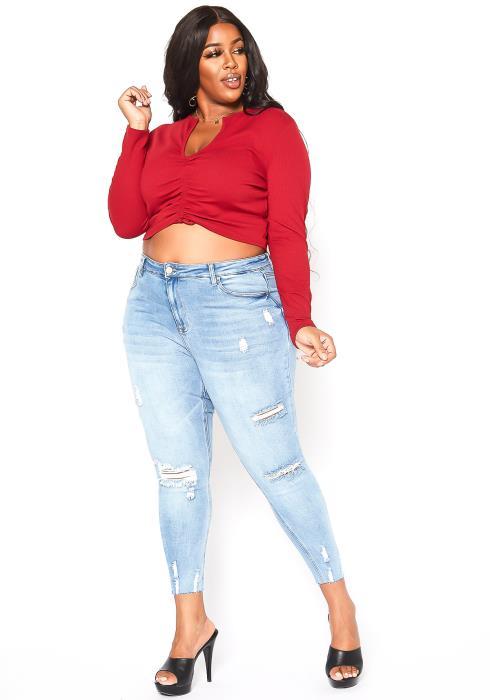 Asoph Plus Size Distressed Light Wash Jeans