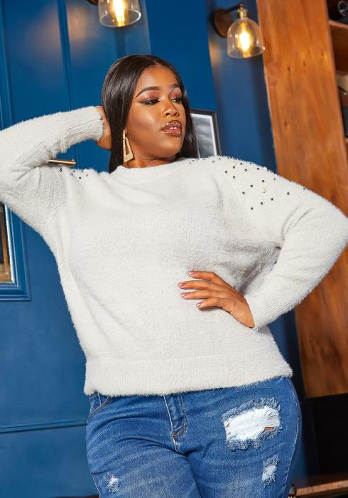 Asoph Plus Size Pearled Up Fuzzy Knit Sweater