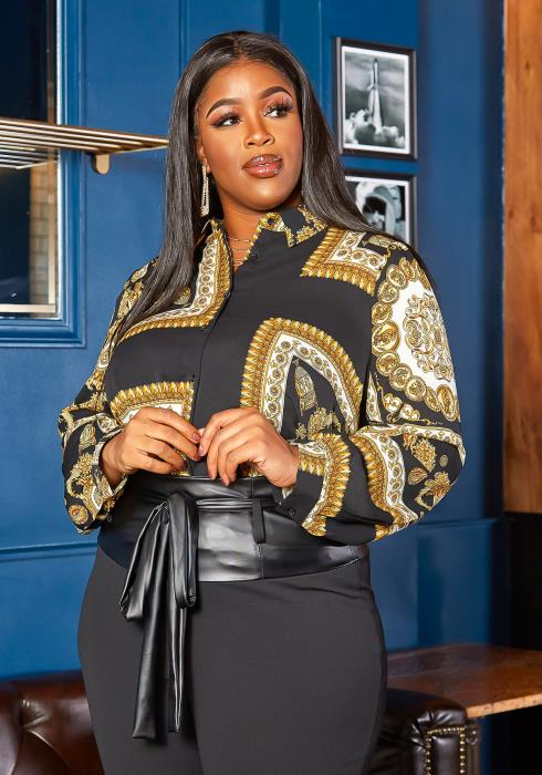 Asoph Plus Size Royal Boracade Print Collar Shirt