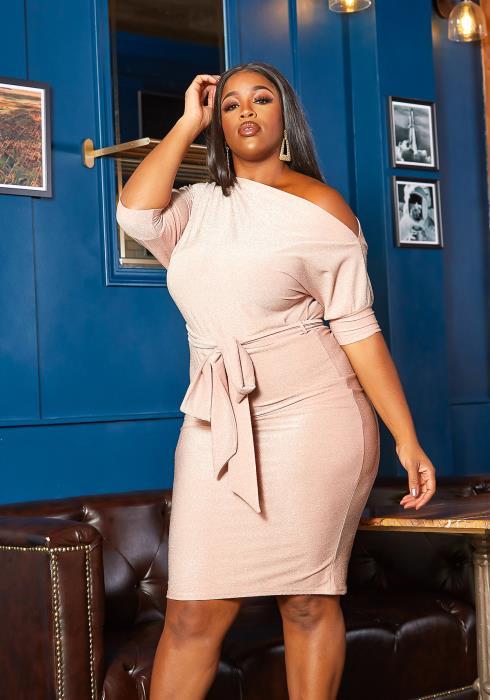 Asoph Plus Size Rose Shimmer Cold Shoulder Mini Dress