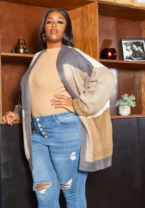 Asoph Plus Size Color Block Open Front Knit Cardigan