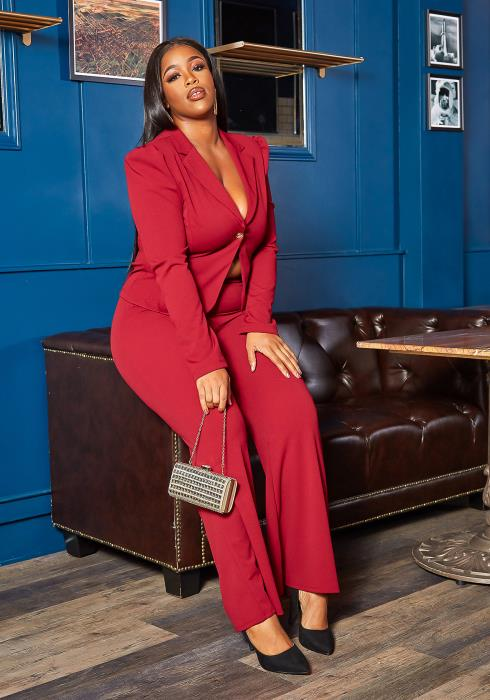 Asoph Plus Size All Business Blazer Top & Straight Pants Set