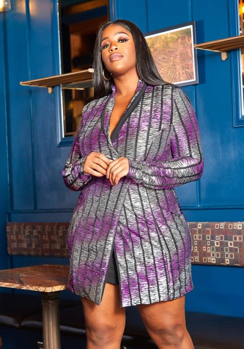 Asoph Plus Size GNO Metallic Striped Long Blazer