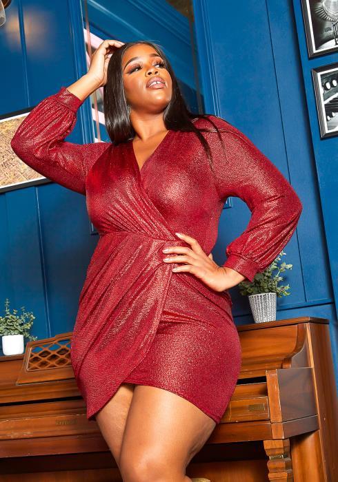 Asoph Plus Size Night Of Love Shimmer Mini Dress