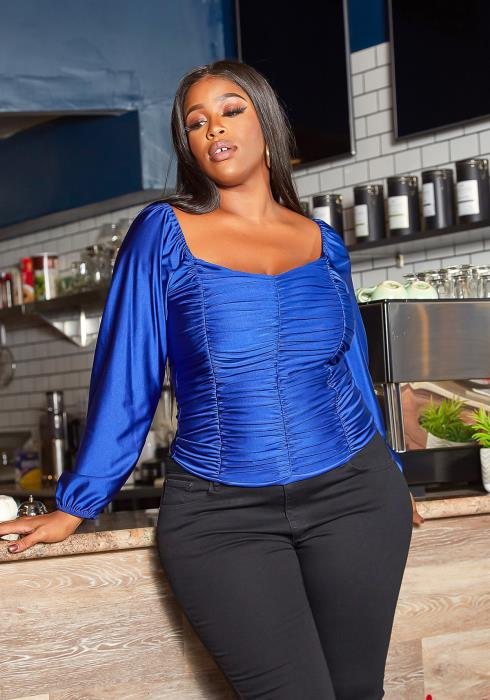 Asoph Plus Size Royal Satin Ruched Square Neck Top