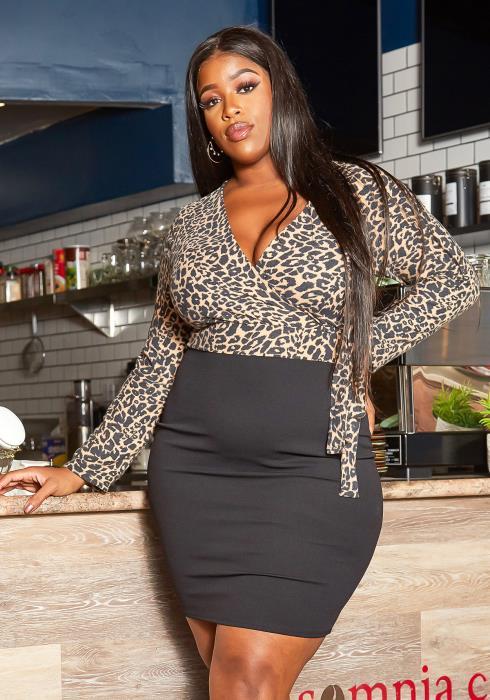 Asoph Plus Size Leopard Contrast Bodycon Mini Dress