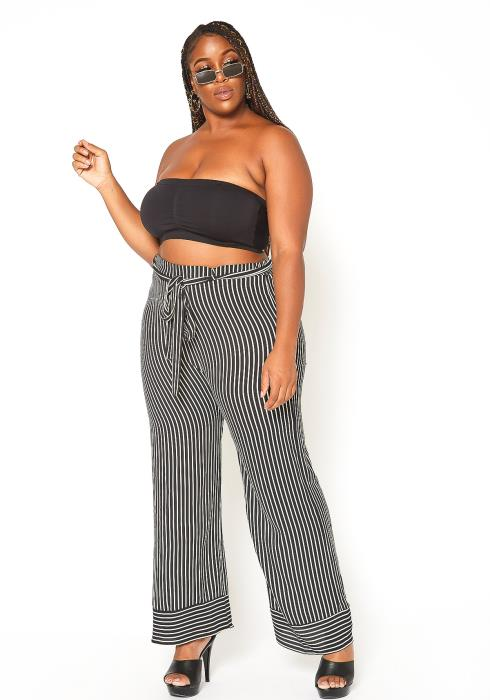 Asoph Plus Size Pinstripe Straight Fit Pants