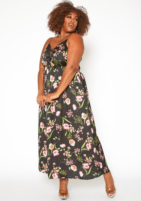 Asoph Plus Size Floral Print Cami Maxi Dress