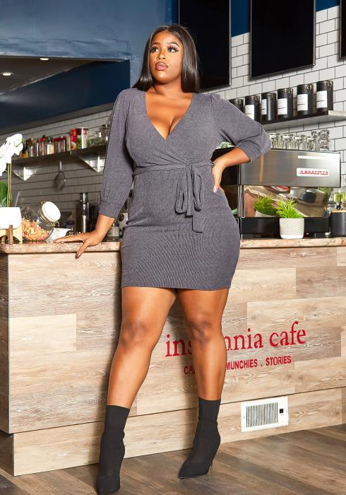 Asoph Plus Size Simply Ribbed Bodycon Mini Dress