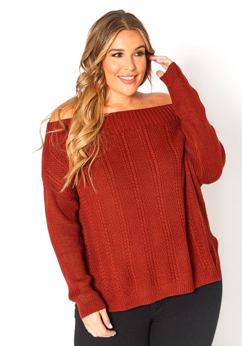 Asoph Plus Size Off Shoulder Cable Knit Sweater