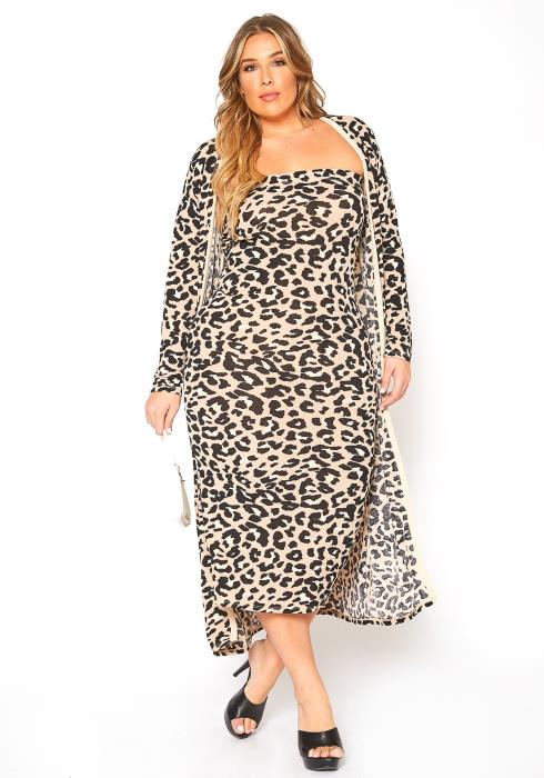 Asoph Plus Size Leopard Print Tube Bodycon Dress & Long Cardigan Set