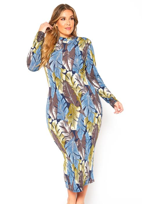 Asoph Plus Size Miami Night Leaf Print Bodycon Midi Dress