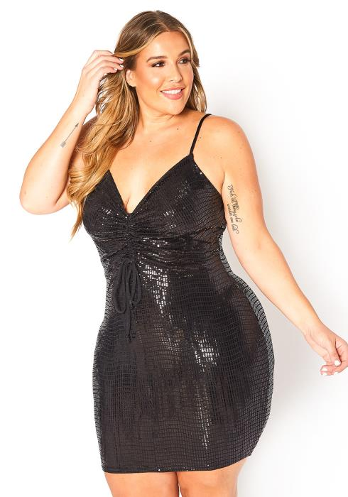 Asoph Plus Size Start The Party Sequin Cami Mini Dress