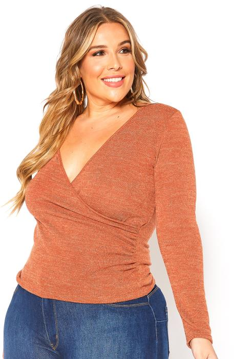 Asoph Plus Size V Neck Wrap Long Sleeve Top