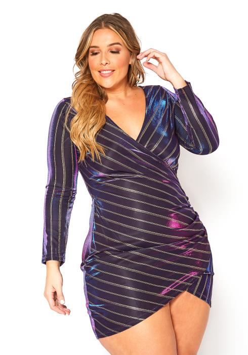 Asoph Plus Size Two Tone Metallic Shimmer Party Mini Dress