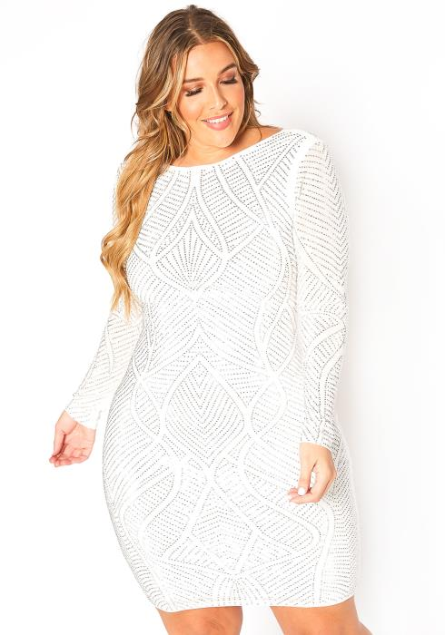 Asoph Plus Size Silver Crystal Engraved Party Mini Dress
