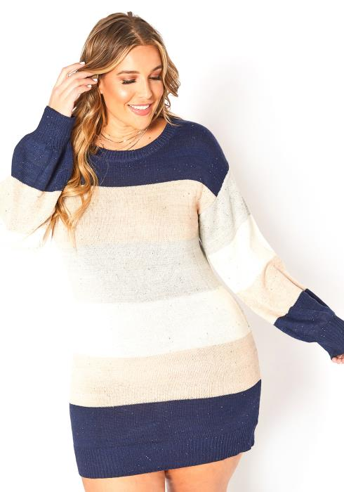 Asoph Plus Size Cute Winter Striped Knit Mini Dress
