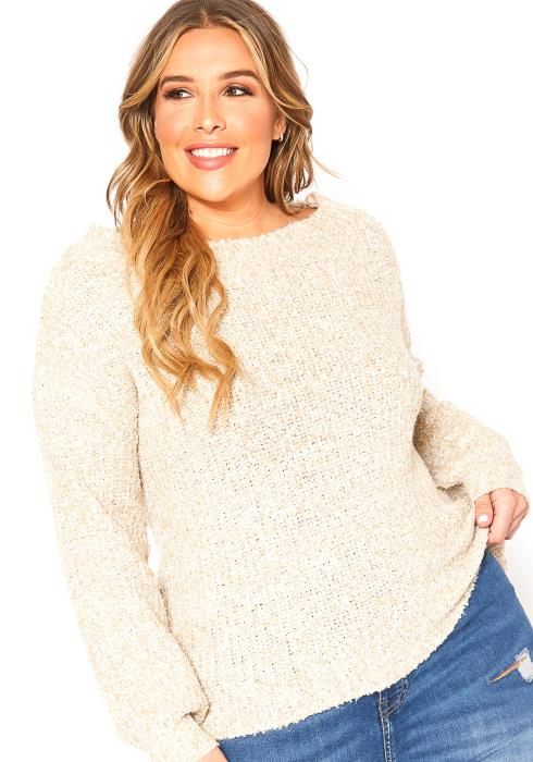Asoph Plus Size Oatmeal Knit Crew Neck Sweater