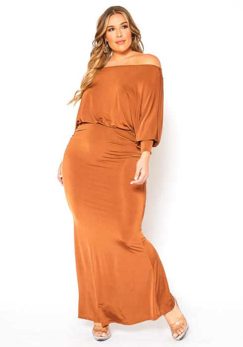Asoph Plus Size Timeless Beauty Off Shoulder Satin Maxi Gown