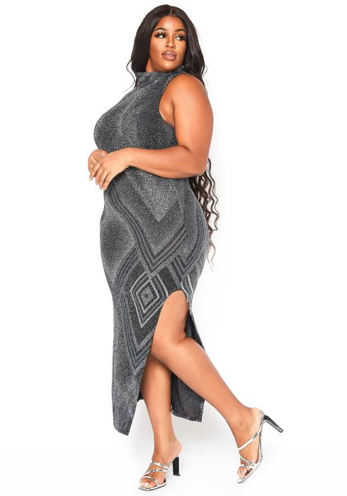 Asoph Plus Size Silver Glitz High Neck Maxi Dress