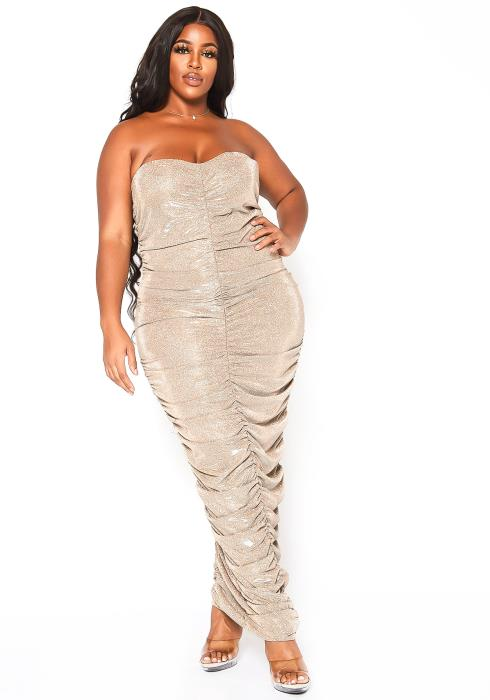 Asoph Plus Size Angelic Glimmer Ruched Bodycon Maxi Dress
