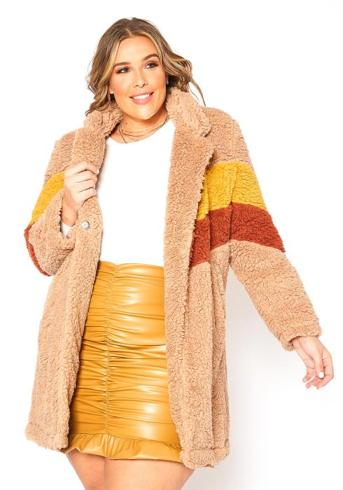 Asoph Plus Size Striped Teddy Knit Longline Coat