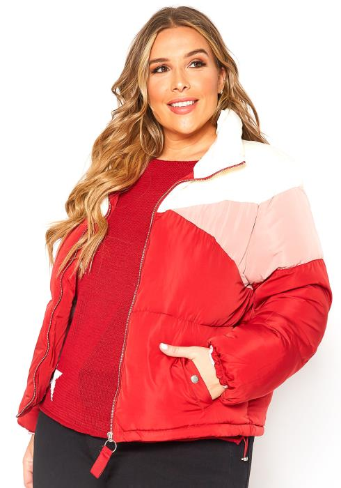 Asoph Plus Size Color Block High Neck Puffer Jacket