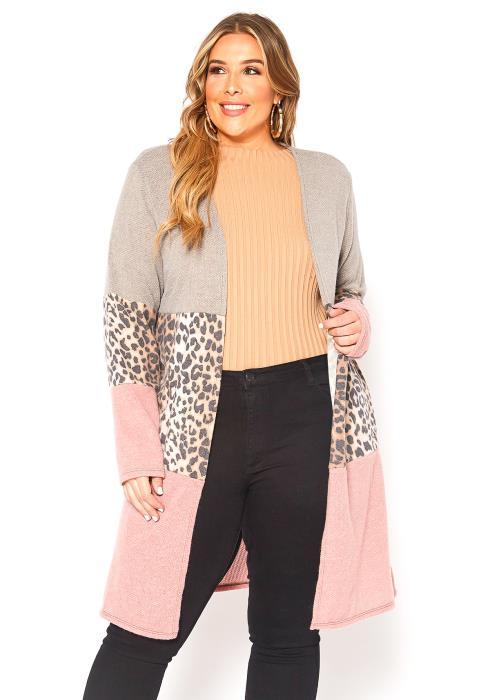 Asoph Plus Size Leopard Color Block Open Front Longline Cardigan