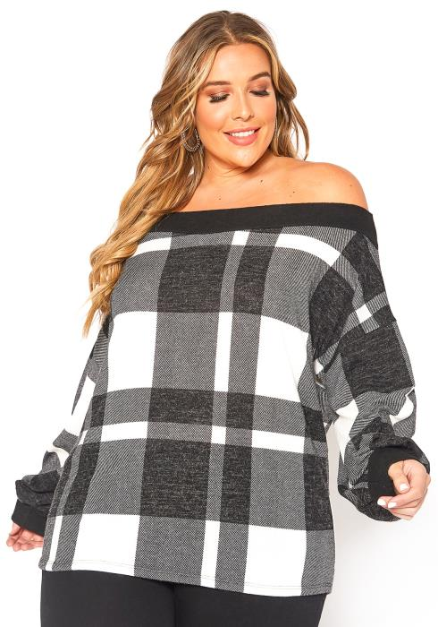 Asoph Plus Size Tartan Plaid Off Shoulder Sweater