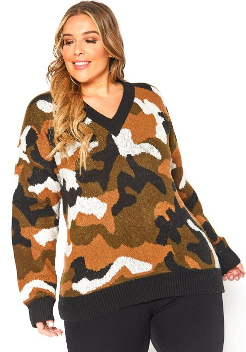 Asoph Plus Size Retro Camo Knit V Neck Sweater